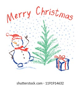 Crayon like child's drawing merry christmas funny smiling dancing snowman with lettering, falling snowflakes, tree and box gift. Like kids pastel hand drawn holiday vector background.