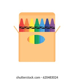 Crayon on white background vector concept. Drawing illustration in modern flat style. Color picture for design web site, web banner, printed material. Crayon icon.