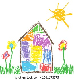 Crayon or pencil like child`s hand drawn house, grass, colorful flowers and sun. Pastel chalk like kid`s hand painting cute spring and summer meadow. Vector artistic stroke style background banner.