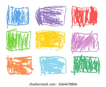 Crayon rectangular colorful vector shapes set. Like kid`s drawn art strokes abstract square design elements. Like child`s drawn pencil wax pastel chalk background. Funny childlike hand drawing banner