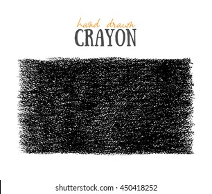 Crayon scribble texture. Wax pastel spot. Pencil Hand painted grunge chalk backdrop. Black on white. Vector background.