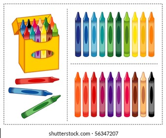Crayon Set. Big box of crayons in twenty vivid and pastel colors with pencil sharpener for scrapbooks, home, office & back to school projects. EPS8 compatible.