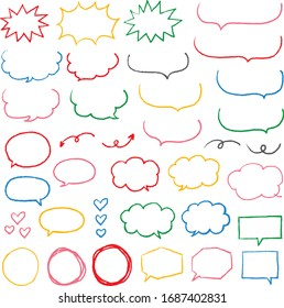 Crayon style hand drawn colorful speech bubble