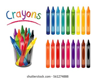 Crayons in 18 rainbow colors, for back to school, art and craft projects, home, office, scrapbooks, desk organizer. EPS8 compatible.