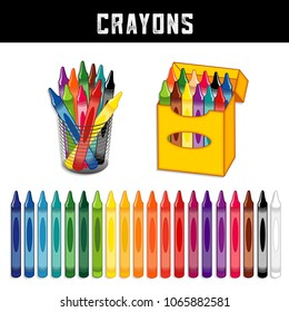 Crayons Collection, Twenty Rainbow Colors, box of crayons, desk organizer, for school, home, office, art and craft projects, scrapbooks, isolated on white background.