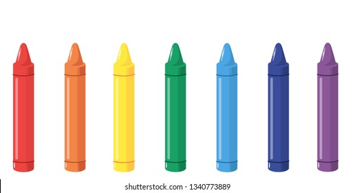crayons of different colors, vector