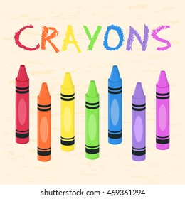 Crayons Set Rainbow Color Back to School Supplies Vector Illustration