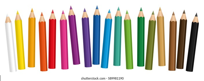 Crayons, small colored pencil collection loosely arranged, isolated vector on white background.