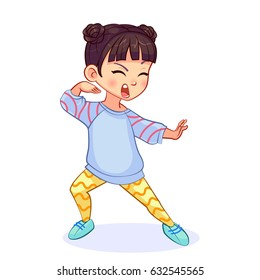 Crazy asian karate girl stands in the fighting stance, funny vector isolated illustration.