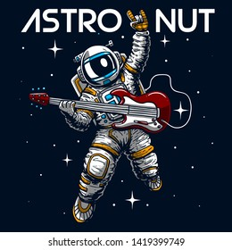 crazy astronaut playing guitar slogan vector cartoon illustration tee grapic wallpaper poster home textile print design