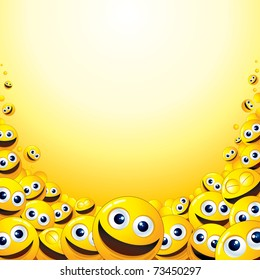 Crazy Background with heap of Yellow Smileys, template for your fun text or design