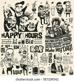Crazy Bar Doodles Set, Funny Personages, Bottles, Glass  And Hand-Written Fonts. Hand Drawn Design Elements. Vector Illustration.