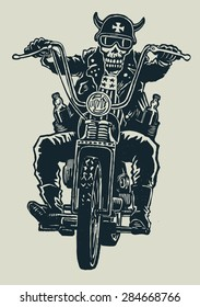 crazy biker skull in motorcycle glasses, helmet with horns. biker symbol. engraving style. vector illustration.