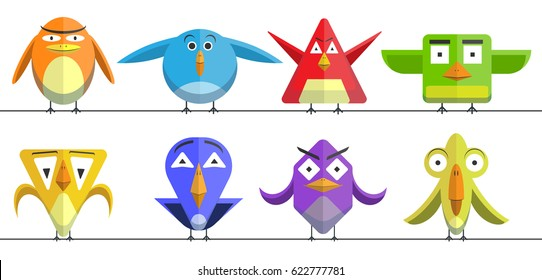 Crazy birds set. Funny colourful cute cartoon birds. birds icons.
