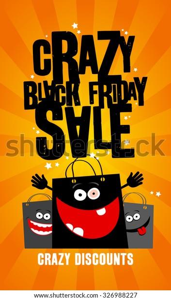 Crazy Black Friday Sale Design Shopping Stock Vector Royalty Free 326988227