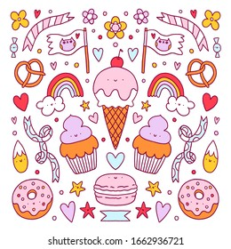 Crazy candy land sweet vector cartoon characters