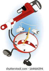Crazy carton alarm clock with an adjustable wrench