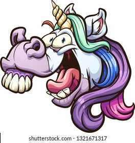 Crazy cartoon unicorn head laughing and neighing clip art. Vector illustration with simple gradients. All in a single layer.