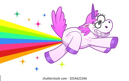 Crazy cartoon unicorn making rainbow and flies on it.