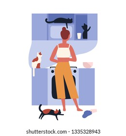 Crazy cat lady standing in kitchen full of her kitties and cooking. Home scene with woman and her domestic animals. Lonely pet owner. Back view. Colorful vector illustration in flat cartoon style.