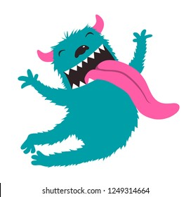 Crazy Character Jumping Monster for kids design. Funny animal crazy monster design showing tongue.