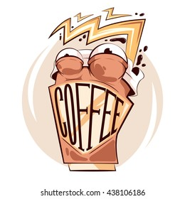 """""""Crazy coffee cup"""" sticker concept.Vector template for funny design."""