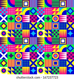 Crazy Colorful Geometric Squares Pattern