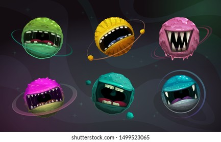 Crazy colorful monster balls. Cartoon fantasy scary planets with giant scary mouths on cosmic background. Comic enemy characters, alien space elements for game design. Vector GUI assets.