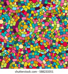 Crazy colors seamless abstract hand drawn vector pattern. Bright summer colours, modern wave and mosaic circles texture. Boho fashion style for prints, batik, silk textile