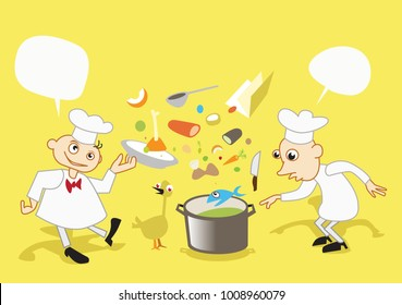 """""""Crazy Cooking"""" - funny doodle vector illustration. Two cartoon chefs on yellow"""