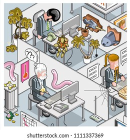 Crazy cube farm office with businessman sleeping in mummified plants, senior employee being attacked by aliens and bored programmer (vector cartoon in isometric view)