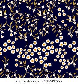 Crazy daisies print. Seamless vector pattern with small flowers on black background. Retro textile collection.