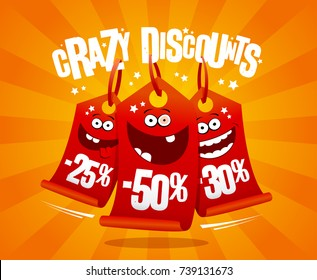 Crazy discounts banner with madness smiling price tags -25%, -50%, -30%