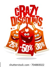 Crazy discounts sale banner, joyful smiling price tags -25%, -50%, -30%