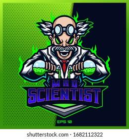 Crazy Doctor Scientist esport and sport mascot logo design in modern illustration concept for team badge, emblem and thirst printing. Mad illustration on Light Green Background. Vector illustration