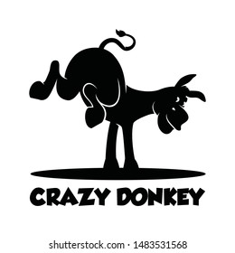 crazy donkey silhouette vector illustration