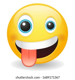 Crazy emoji with Zany Expression. Excited emoticon wild face. Vector design illustration. Grinning with one large and one small eye.
