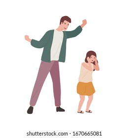 Crazy father screaming to little fear daughter vector flat illustration. Innocent baby girl victim of domestic violence of angry dad isolated on white background. Parents and children relationship