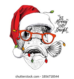 Crazy fish in the red Santa's hat, in the glasses and with the light. Merry Christmas and New year card, Humor composition, hand drawn style print. Vector illustration.