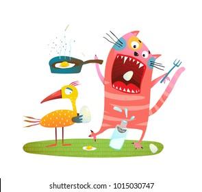 Crazy Fun Cat Eating Eggs of Bird. Cat and birdie feeding illustration. Vector illustration.