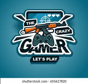 Crazy gamer logo cool vector print or sticker illustration creative design