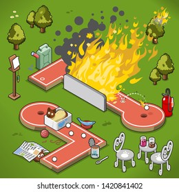 Crazy golf lanes with fire blaze and cats hiding in box as well as underneath a newspaper (isometric illustration)