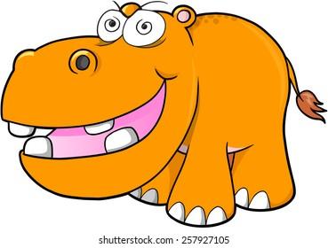 Crazy hippopotamus Vector Illustration Art
