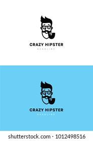 Crazy hispter logo template.