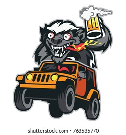 Crazy Honey Badger Mascot Riding Jeep with Hold a Beer :  Layered Vector Illustration - Easy to Edit