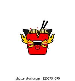 Crazy hot flame spicy food ramen noodle box logo icon illustration