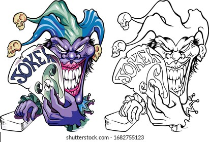 Crazy joker's creepy face. Evil clown with a smile on his face. In a hat with skulls holding a card game for money dollars. Vector illustration