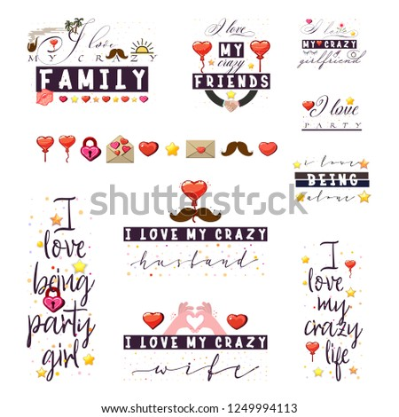 Crazy Love Quotes Tshirt Posters Slogans Stock Vector Royalty Free