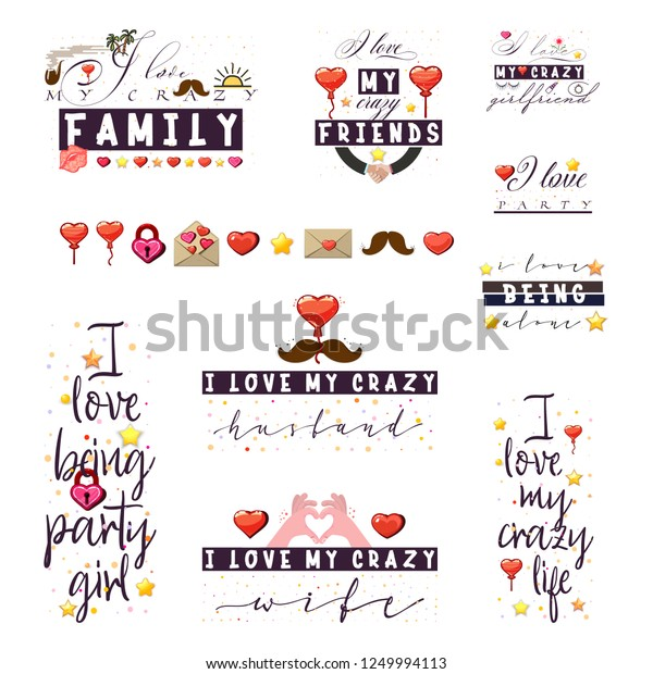 Crazy Love Quotes Tshirt Posters Slogans Stock Vector ...