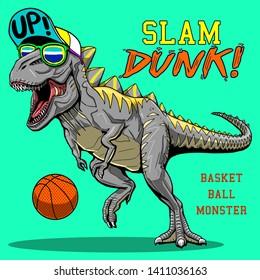 crazy monster dinosaur playing basketball slam dunk slogan tee shirt graphic pajama print design